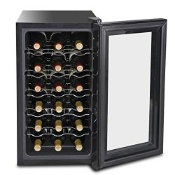 SUPER DEAL 18-Bottle Touchscreen Wine Cooler Thermoelectric Freestanding Red White Wine Champagn ...