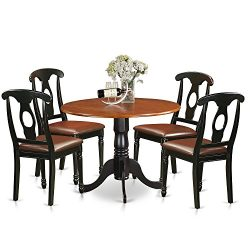East West Furniture DLKE5-BCH-LC 5 Piece Small Kitchen Table and 4 Dining Chairs Dinette Set
