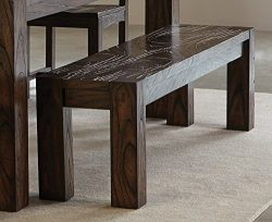 Calabasas Bench with Wavy Wood Grain Dark Brown