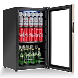 Costway Beverage Refrigerator Portable Mini Beer Wine Soda Drink Beverage Cooler Black (76 Can)
