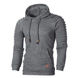 GOVOW Men's Outerwear Light Jackets Autumn Long Sleeve Plaid Hoodie Sweatshirt Top Tee Blo ...