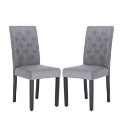 Fabric Dining Chair Modern Tufted Solid Wood Per-Home Padded Parsons Chair for Dining Room Livin ...