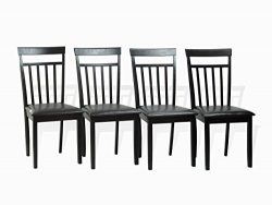 Set of 4 Warm Dining Room Kitchen Solid Wood Hardwood Chairs in Espresso Black Finish