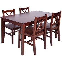 Merax 5 PC Solid Wood Dining Set 4 Person Table and Chairs (Walnut)