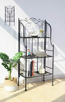 eHomeProducts 3-tier Metal Frame Baker Rack Kitchen Cabinet Bookcase Bookshelf Bedroom Scroll Design