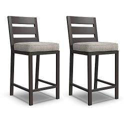 Ashley Furniture Signature Design – Perrymount Outdoor Bar Stool – Set of 2 –  ...