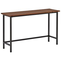 Rivet Industrial Counter-Height Table, 47.25″W, Walnut