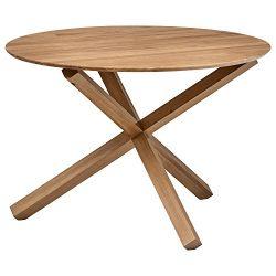 Rivet Modern Wood Dining Table, 29.5″H, Beige
