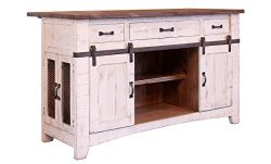 Crafters and Weavers Greenview 3 Drawer Kitchen Island w/2 sliding doors & 2 Mesh doors / Ki ...