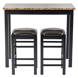 Pearington PEAR-3754 Remington High Top Counter Height Bar and Pub Table Set with 2 Chairs, Dark ...