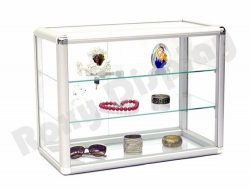 (SC-KD) ROXYDISPLAY™ COUNTER TOP GLASS CASE With one free LED light, Standard aluminum framing,w ...