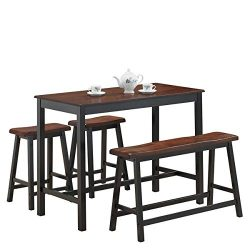 COSTWAY 4PC Counter Height Table Set Simple Dining Set Modern Style with One Height Bench and Tw ...