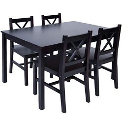 Merax 5 PC Solid Wood Dining Set 4 Person Table and Chairs (Espresso)