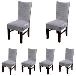Smiry Velvet Stretch Dining Room Chair Covers Soft Removable Dining Chair Slipcovers Set of 6, S ...
