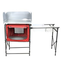 PORTAL Portable Camp Kitchen Table Deluxe Outdoor Cooking Picnic BBQ Grill Station with Storage  ...