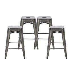 Buschman Set of Four Dark Gun Metal Dark Grey 24 Inches Counter Height Tolix-Style Metal Bar Sto ...