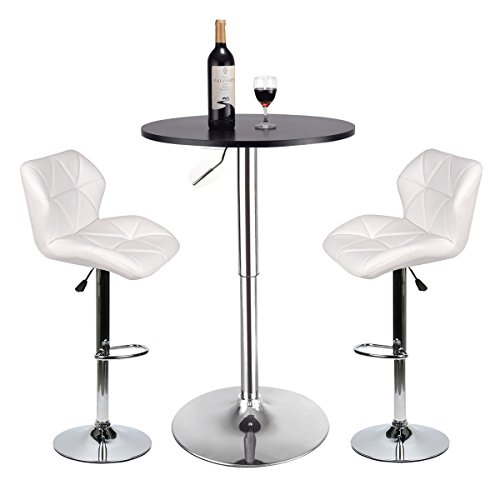YOURLITEAMZ Bar Table and Chairs Set of 3 – Heigh Adjustable Round Table and 2 Swivel White Pub  ...