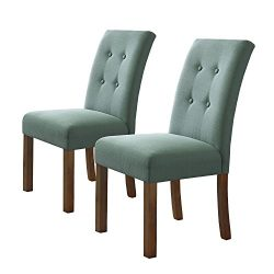 HomePop K6378-F1374 Parsons Classic Button Tufted Accent Dining Chair, Set of 2, Aqua