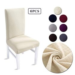 LAIKEUP Dining Room Chair Covers Set of 6 Beige Spandex Stretch Fabric Dining Chair Seat Protect ...