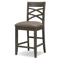 Leick Wood Double Cross Back Counter Height Barstool, Greystone Finish, Moss Heather Seat, Set of 2
