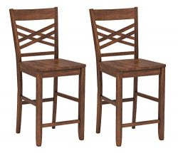 Ravenna Home Luna Rustic Wood Counter Stool, 40.5″H, Walnut (Set of 2)