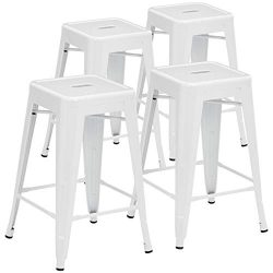 Pioneer Square Haley 24-Inch Backless Square-Seated Counter-Height Metal Stool, Set of 4, White  ...