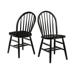 Winsome Wood 29836 Windsor 2-PC Set RTA Black Chair