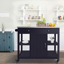ChooChoo Kitchen Island Cart with Stainless Steel Top-Navy Blue