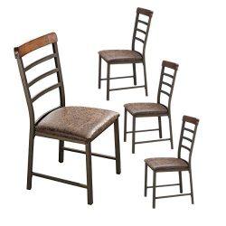 O&K Furniture Industrial Metal Restaurant Chairs, Ladder Back Kitchen Dining Side Chair (Set ...