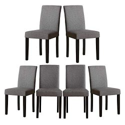 Set of 6 Modern Fabric Upholstered Dining Chairs Elegant Design Dining Room Chairs (Gray Set of 6)
