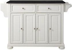 Crosley Furniture Alexandria Kitchen Island with Solid Black Granite Top – White