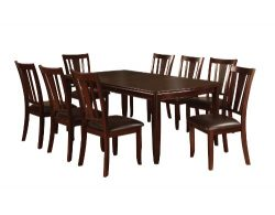 Furniture of America Frederick 9-Piece Dining Table Set with 18-Inch Expandable Leaf, Espresso F ...