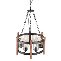 Eumyviv Kitchen Island Orb Wood Chandelier Light with Seeded Glass Shade, Vintage French Country ...
