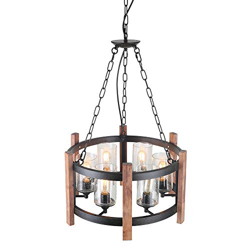 Eumyviv Kitchen Island Orb Wood Chandelier Light With