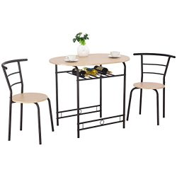 Giantex 3 PCS Dining Table Set w/ 1 Table and 2 Chairs Home Restaurant Breakfast Bistro Pub Kitc ...