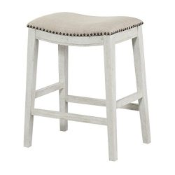 Office Star Saddle Stool with Antique White Base, 24-Inch, Beige Fabric