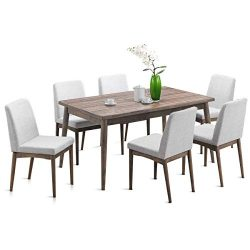 Giantex 7 Pcs Dining Table and Chairs Kitchen Dining Room Table Set with Wood Legs and Upholster ...
