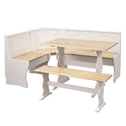 The Mezzanine Shoppe 25513NWH Knox Modern 3 Piece Corner Dining Nook Set, Natural/White