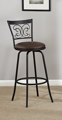 Dark Bronze Finish Leather (like) Scroll Back Adjustable Metal Swivel Counter Height Bar Stools  ...