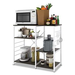 W-LIVE 3-Tier Kitchen Baker's Rack, Utility Microwave Oven Stand Storage Cart Home Islands ...