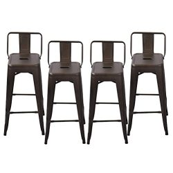 Changjie Furniture Pack of 4 Low Back Gunmetal Counter Bar Stool Indoor-Outdoor Bistro Cafe Bar  ...