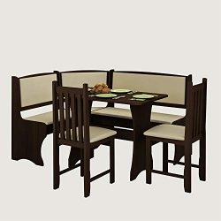 Furniture.Agency Breakfast Nook 4-Piece Set Multiple Finishes Corner Bench, Dining Table 2 Side  ...