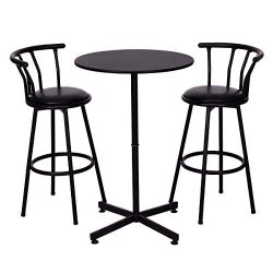 COSTWAY 3 Piece Bar Table Set with 2 Stools Bistro Pub Height Circular Table and Chairs Set Kitc ...