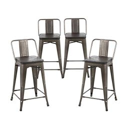 Buschman Set of 4 Bronze Wooden Seat 24 Inch Counter Height Metal Bar Stools with Medium Back, I ...