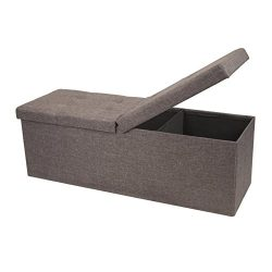 Otto & Ben 45″ Storage Folding Toy Box Chest with Smart Lift Top Linen Fabric Ottomans ...