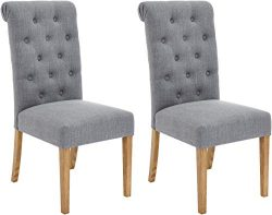 Red Hook Furniture Serena Solid-Wood Tufted Upholstered Armless Dining Chair, Cosmopolitan Grey, ...