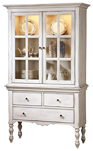 Haggens Rusticated Country Buffet & Hutch in White