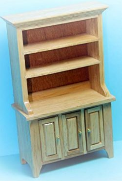 Dollhouse Kitchen Dining Room Hutch in Oak KL2159 – Miniature Scene Supplies Your Fairy Ga ...