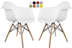 La Valley Mid Century Modern Molded Armchair with Dowel Wood Eiffel Legs – Set of 2 &#8211 ...
