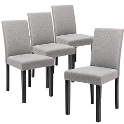 Devoko Fabric Dining Chairs Modern Home Kitchen Side Chair Solid Wood Legs Living Room Chairs Se ...